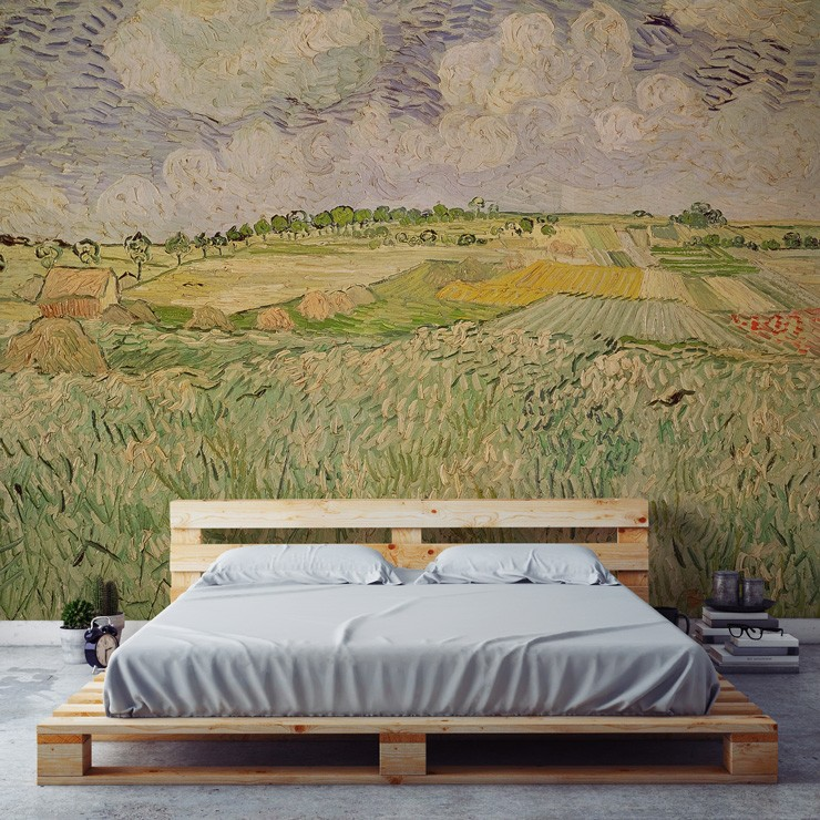 the plains at auvers mural by van gogh in farmhouse style bedroom