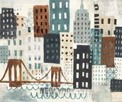 NY Skyline Collage Neutral wallpaper mural thumbnail
