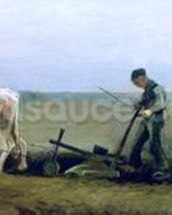 Labourer and Peasant Planting Potatoes, 1884 (oil on canvas) wall mural thumbnail