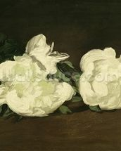 Branch of White Peonies and Secateurs, 1864 (oil on canvas) mural wallpaper thumbnail