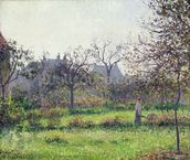 Morning Sun, Autumn, Eragny, 1897 (oil on canvas) wallpaper mural thumbnail