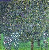 Roses under the Trees, c.1905 (oil on canvas) mural wallpaper thumbnail