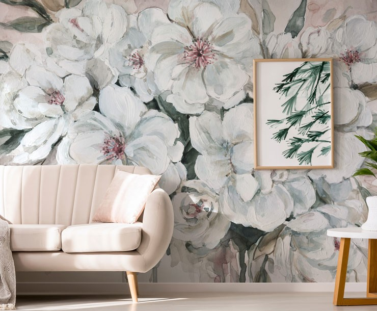 pink and grey paint effect wall mural in cosy living room