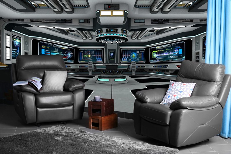 Spaceship-wall-mural-in-games-room