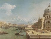 The Entrance to the Grand Canal and the church of Santa Maria della Salute, Venice (oil on canvas) mural wallpaper thumbnail
