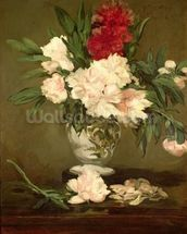 Vase of Peonies on a Small Pedestal, 1864 (oil on canvas) wallpaper mural thumbnail
