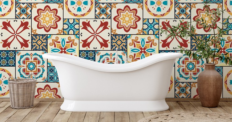 arabic orange tiles in bathroom with stand alone bathtub