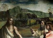 Christs Charge to St. Peter (cartoon for the Sistine Chapel) (pre restoration) (detail of 33707) mural wallpaper thumbnail