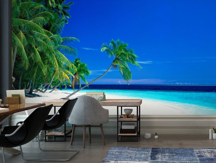 white sanded beach with blue sky and waters wallpaper in trendy office space