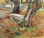 The Bench at Saint-Remy, 1889 (oil on canvas) wall mural thumbnail