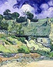 Thatched cottages at Cordeville, Auvers-sur-Oise, 1890 (oil on canvas) mural wallpaper thumbnail