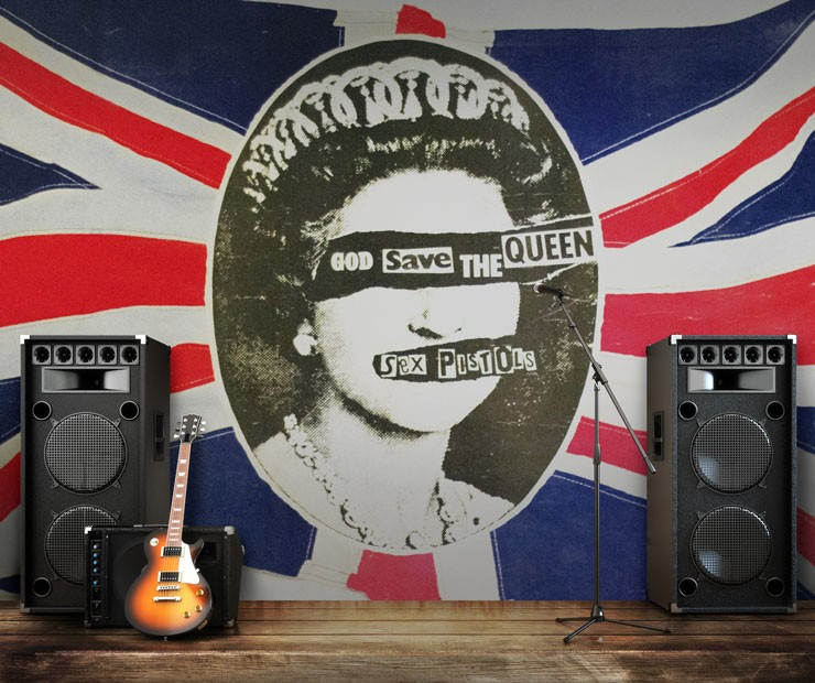 sex pistols queen wallpaper with rock musical instruments