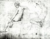 Study for the Turkish Bath (graphite on paper) (b/w photo) wallpaper mural thumbnail