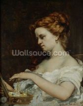 A Woman with Jewellery, 1867 (oil on canvas) wall mural thumbnail
