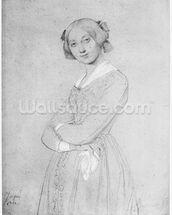 Louise de Broglie, Countess of Haussonville, 1842 (graphite & white highlights on paper) (b/w photo) wallpaper mural thumbnail