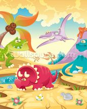 Dinosaurs Cartoon wall mural thumbnail