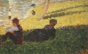Seated man and reclining woman, study for A Sunday Afternoon on the Island of La Grande Jatte, 1884 (oil on panel) wallpaper mural thumbnail