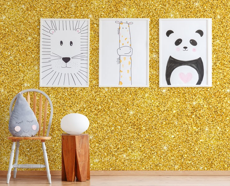 gold un-glitter wallpaper in child's bedroom