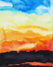 Watercolor Painting of a Lake of Fire wallpaper mural thumbnail