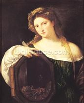 Allegory of Vanity, or Young Woman with a Mirror, c.1515 (oil on canvas) wall mural thumbnail