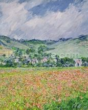 The Poppy Field near Giverny, 1885 (oil on canvas) wallpaper mural thumbnail