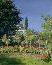 Flowering Garden at Sainte-Adresse, c.1866 (oil on canvas) mural wallpaper thumbnail