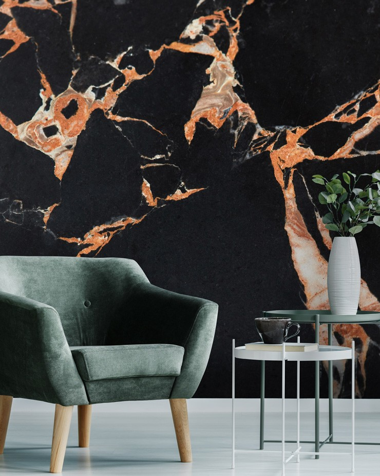 black-marble-with-coral-wallpaper-in-living-room