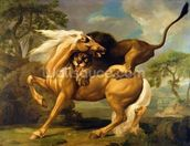 A Lion Attacking a Horse, c.1762 (oil on canvas) mural wallpaper thumbnail