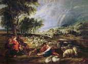 Landscape with a Rainbow (oil on canvas) wallpaper mural thumbnail