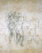 Study for the Last Judgement (graphite on paper) wallpaper mural thumbnail