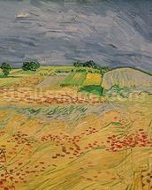 Plain at Auvers, 1890 (oil on canvas) wallpaper mural thumbnail