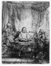 Supper at Emmaus, 1654 (etching) wall mural thumbnail