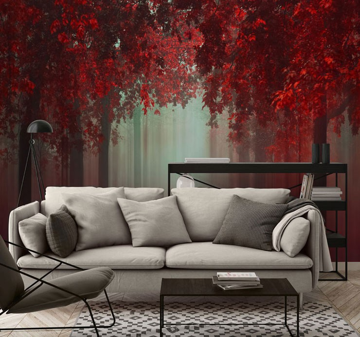 Red leafed trees in living room