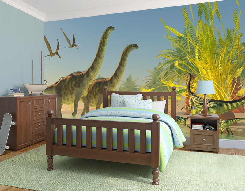 Dinosaur-wallpaper-in-boys-small-bedroom
