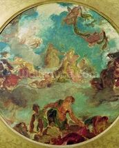 Peace Descending to Earth, study for the central ceiling of the Salon de la Paix in the Hotel de Ville destroyed in 1871 during the Commune (oil on canvas) mural wallpaper thumbnail