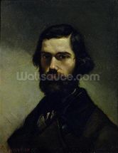Portrait of Jules Valles (1832-85) c.1861 (oil on canvas) wall mural thumbnail
