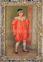 Claude Renoir in a clown costume, 1909 (oil on canvas) wall mural thumbnail
