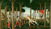 Nastagios Vision of the Ghostly Pursuit in the Forest: Scene I of The Story of Nastagio degli Onesti, c.1483 (tempera on panel) wall mural thumbnail