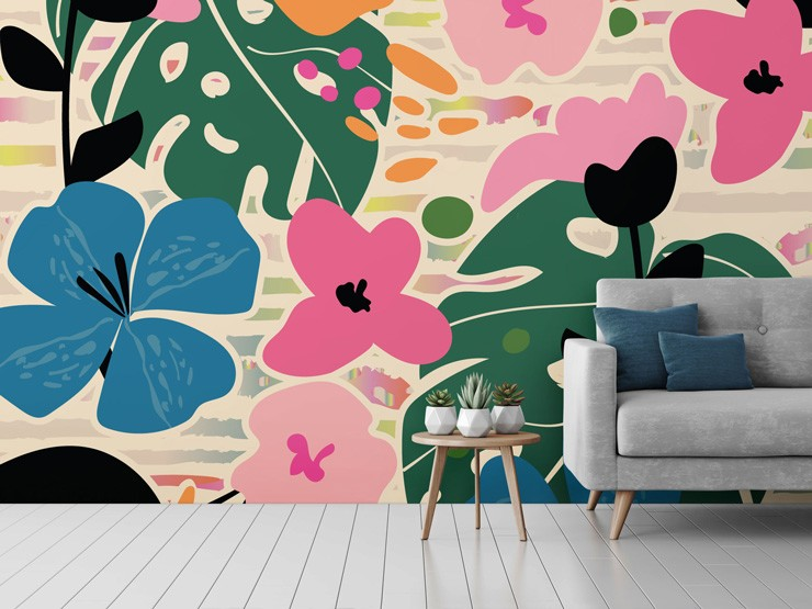 Vibrant floral patterned wallpaper in living room by Neelam Kaur