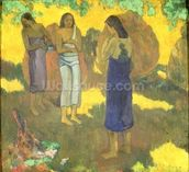 Three Tahitian Women against a Yellow Background, 1899 (oil on canvas) wall mural thumbnail