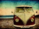 VW Camper on the Beach wall mural thumbnail