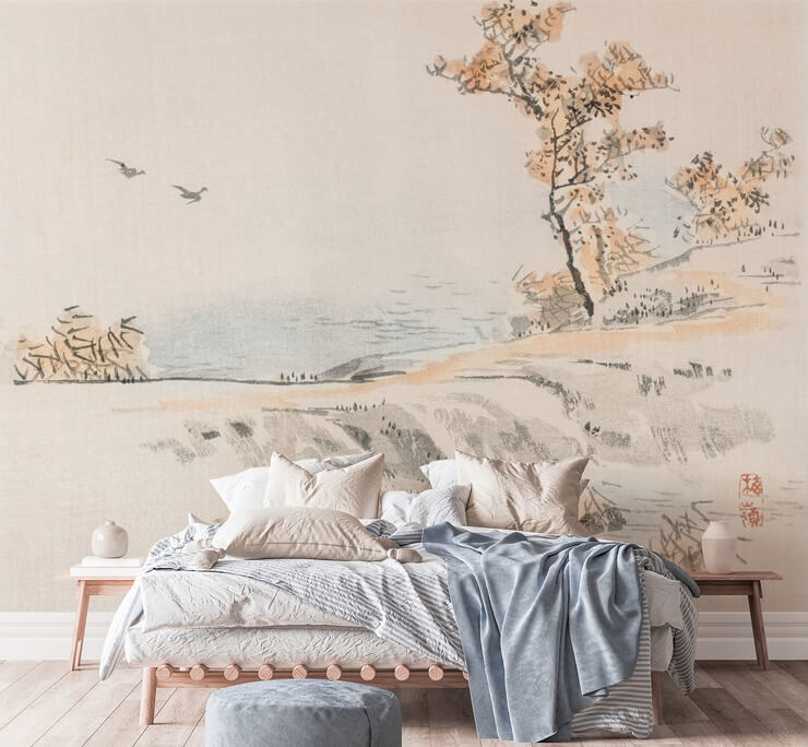 very simple japanese painting of a countryside wallpaper in bedroom with wooden bed and white bedding