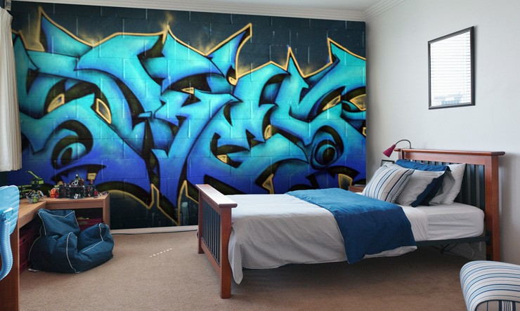 graffiti wallpaper for your teenager's bedroom | wallsauce australia
