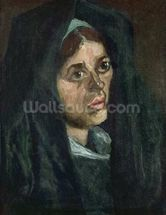Peasant with moss green shawl, c.1885 (oil on canvas) mural wallpaper thumbnail