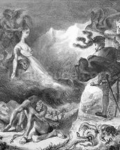 Faust and Mephistopheles at the Witches Sabbath, from Goethes Faust, 1828, (illustration), (b/w photo of lithograph) wallpaper mural thumbnail