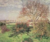 Autumn morning at Eragny, 1897 (oil on canvas) wall mural thumbnail
