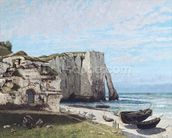 The Cliffs at Etretat after the storm, 1870 (oil on canvas) wallpaper mural thumbnail