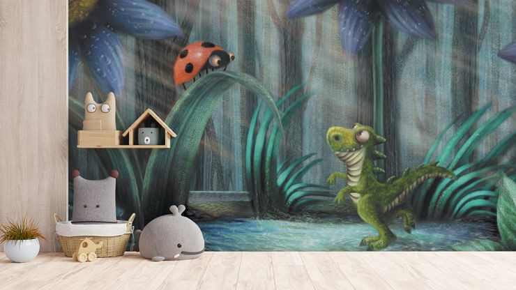 illustrated tiny dinosaur and ladybird wallpaper in grey and neutral child's room