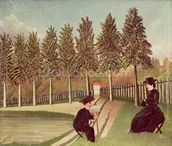 The Artist Painting his Wife, 1900-05 (oil on canvas) wallpaper mural thumbnail