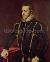 Portrait of Philip II (1527-98) of Spain (oil on canvas) wall mural thumbnail